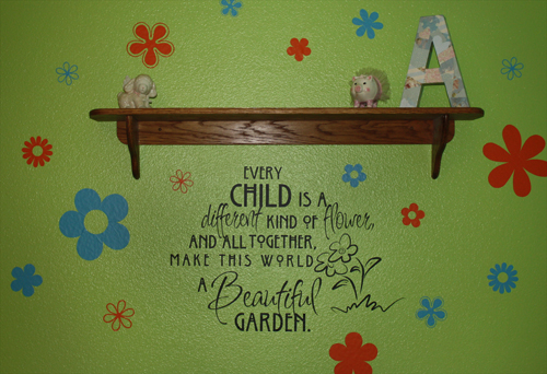 Child Flower Beautiful Garden Wall Decals Trading Phrases