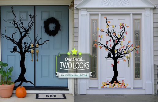 Fall & Halloween Tree Wall Decal
