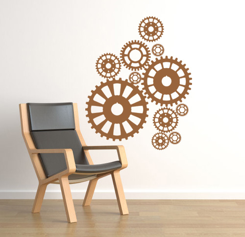 Steampunk Gears Large Wall Decal