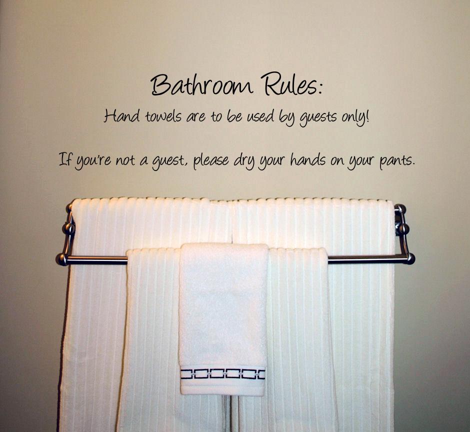 Humorous Bathroom Rules Wall Decal