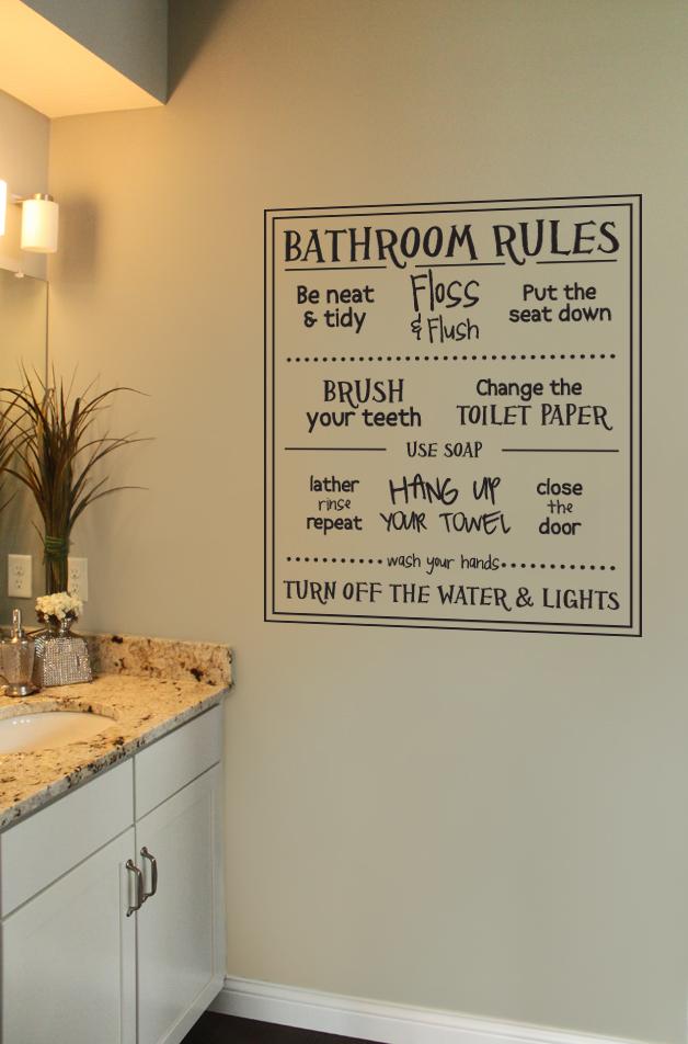 Fun Bathroom Rules Wall Decal