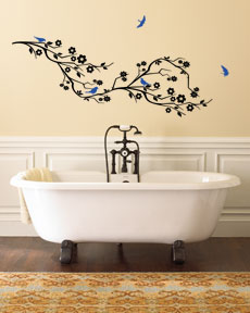Cherry Blossom Branch & Birds Large Wall Decal