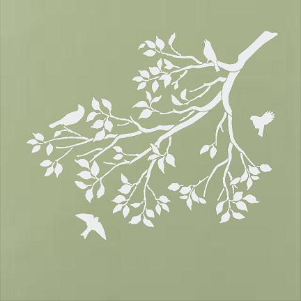 Leafy Branch with Birds
