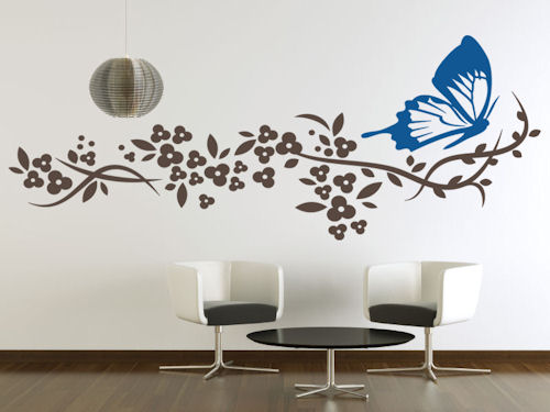 Butterfly Blossom Branch Nature Wall Decal