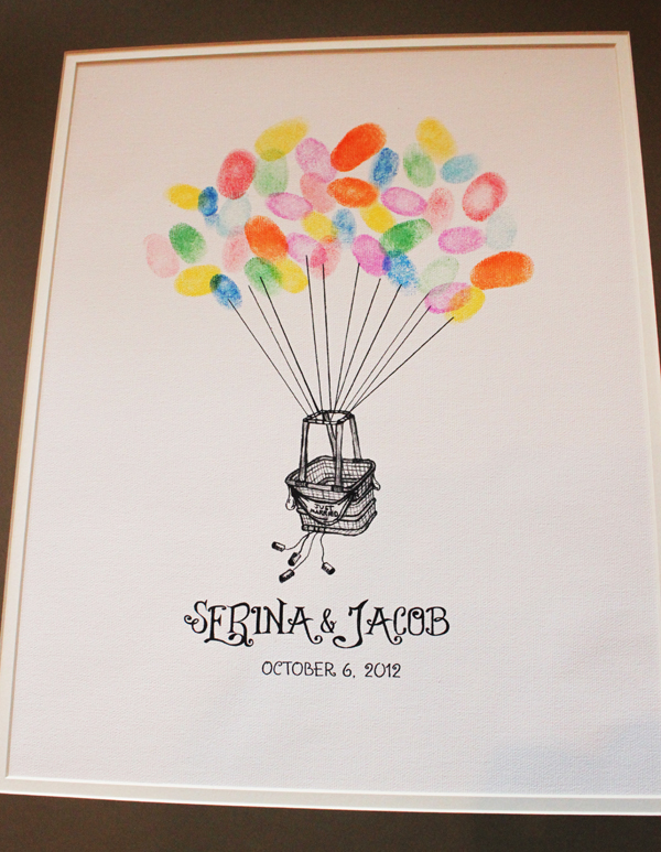 Hot Air Balloon Thumbprint Guest Book Print