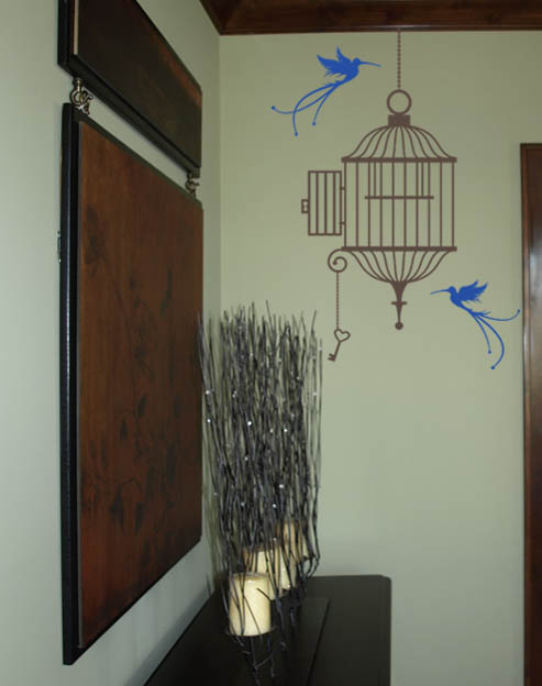 Open Birdcage and Birds Wall Decal