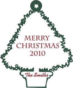 Merry Christmas Tree   Wall Decals