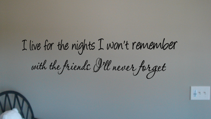 Nights I Won't Remember Wall Decal