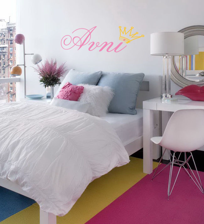 Girls Name and Crown Wall Decal