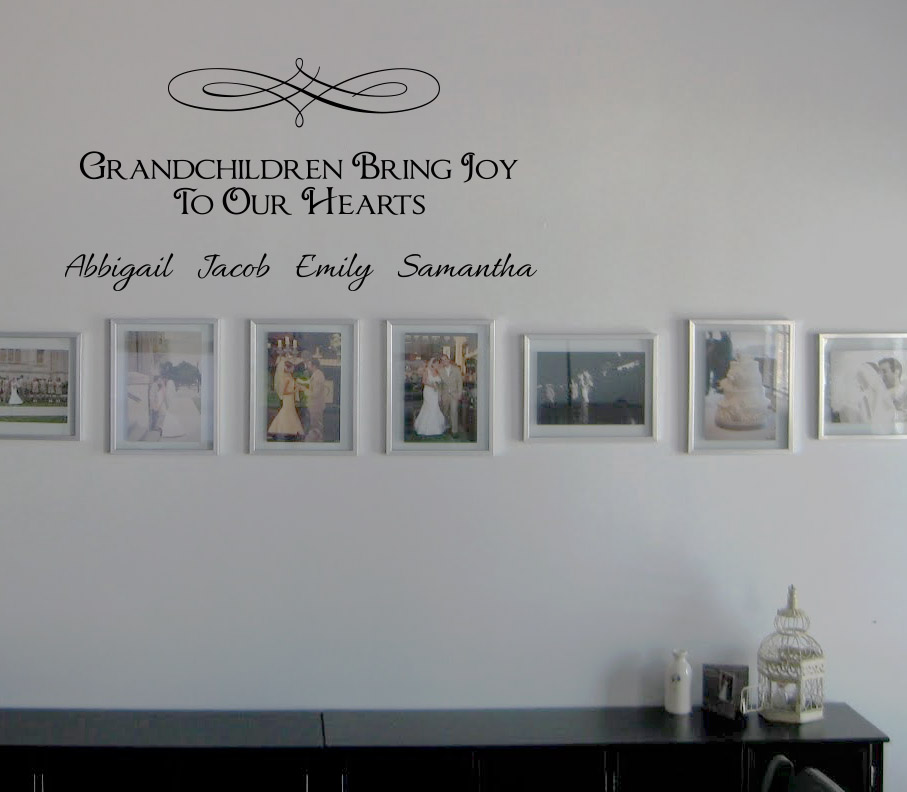 Grandchildren Bring Joy Names Wall Decal