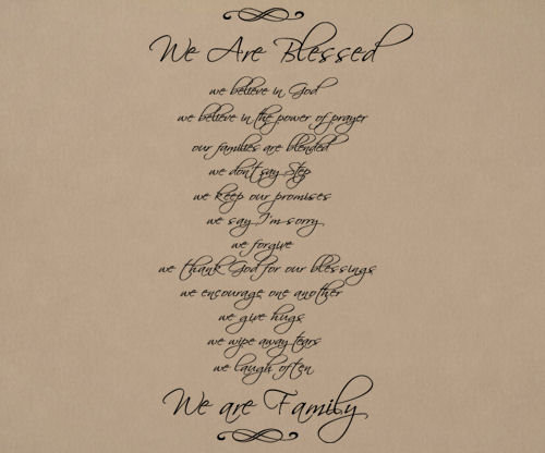 Script We Are Blessed Wall Decal