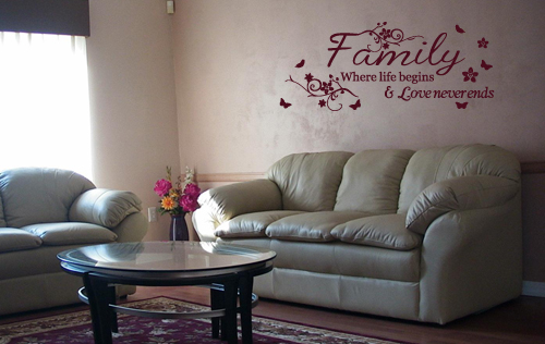 Family Where Life Begins Butterflies Wall Decal