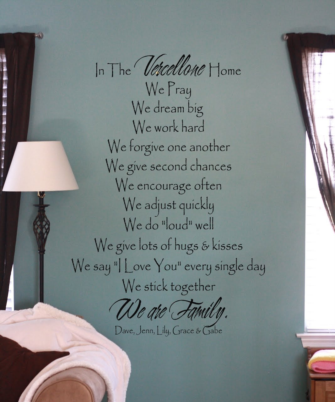 In The Home Family Individual Names Wall Decal