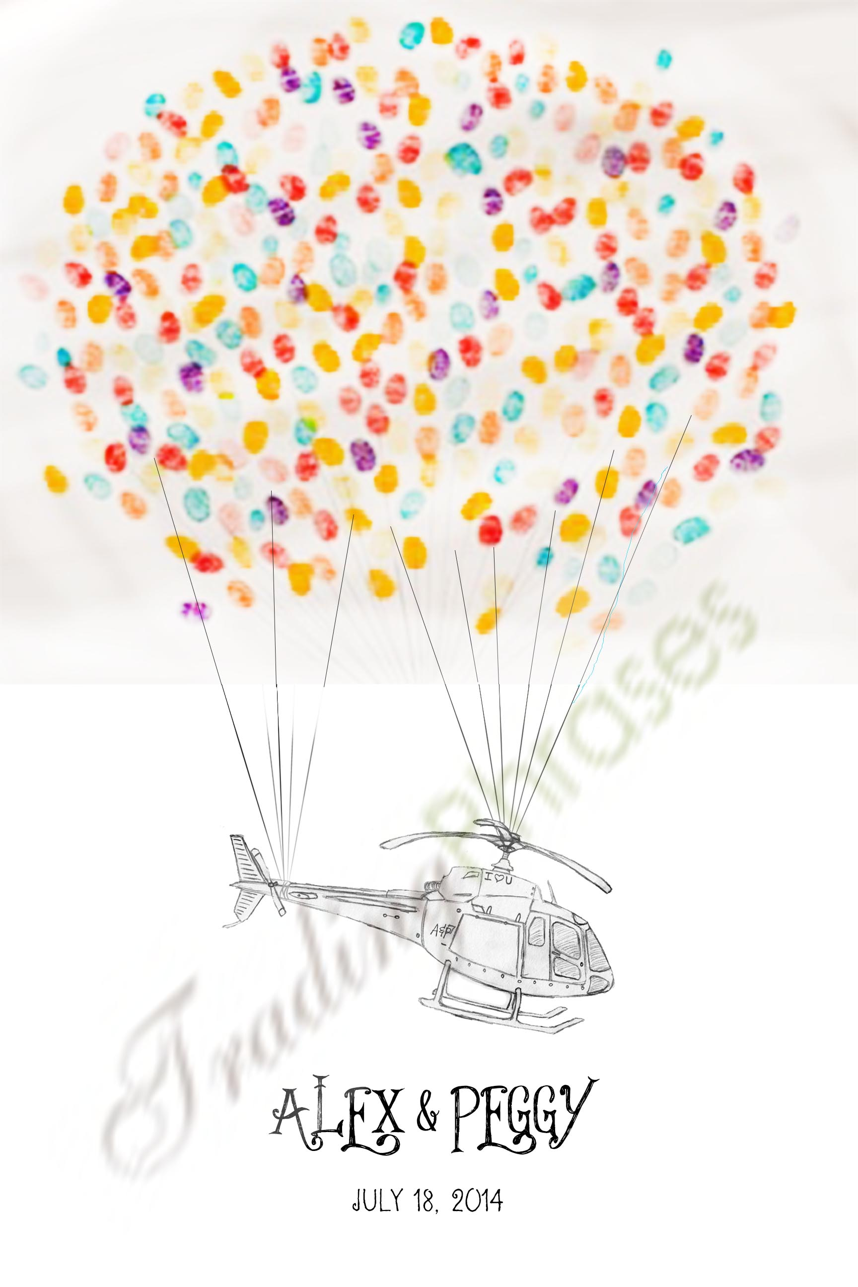 Helicopter Initials Thumbprint Guest Book