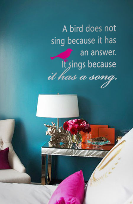 A Bird Does Not Sing Inspirational Wall Decal