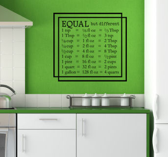Equal But Different Measurements Wall Decal