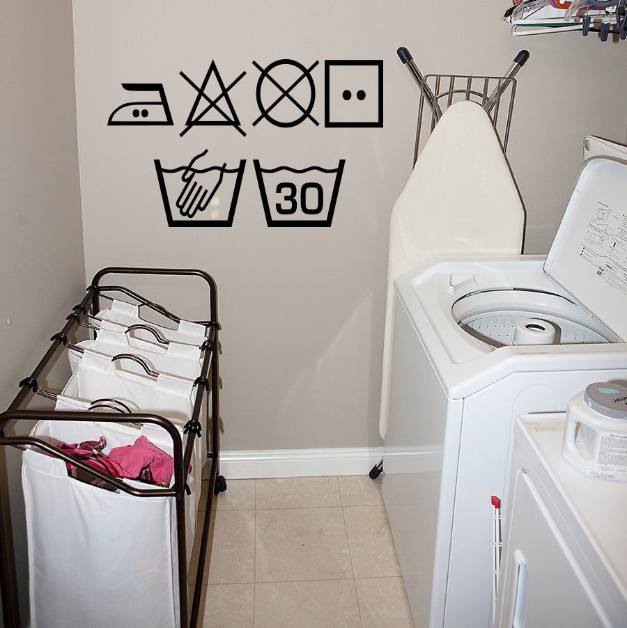 Wash Care Symbols Wall Decal
