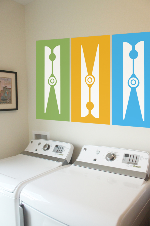 Graphic Clothespins Wall Decal