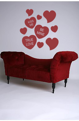 Conversation Hearts Wall Decal