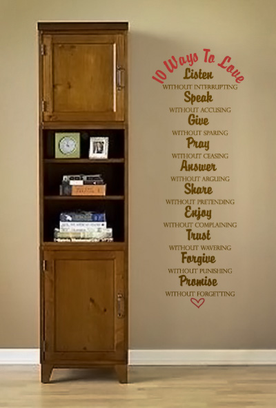 Ten Ways to Love Wall Decal