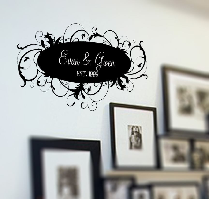 Script Names & Date Frame Wall Decal