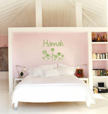Name With Retro Flowers Wall Decals