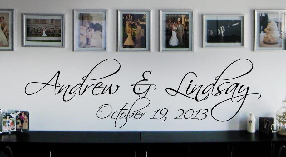 Elegant Names & Date Wall Decal