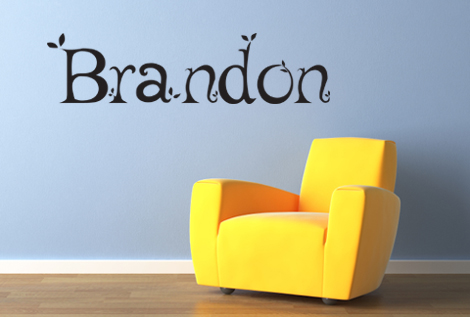 Monogram Leafy Name Wall Decal