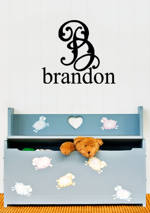 Fancy Monogram Personalized Wall Decal