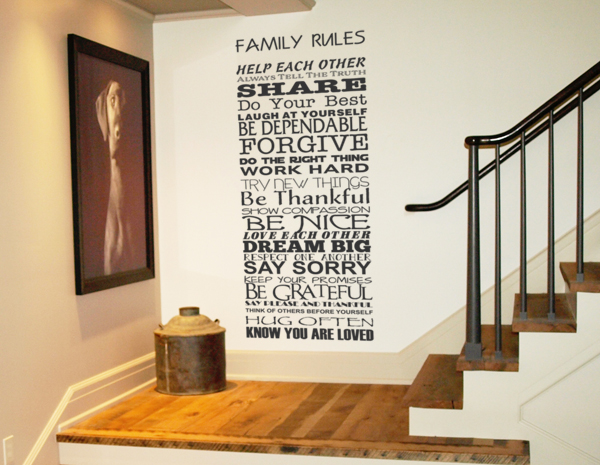 Family Rules Vertical Decal