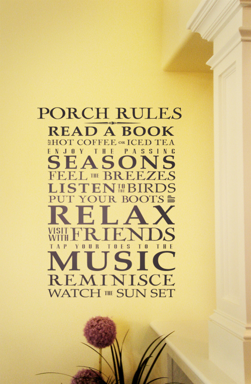 Porch Rules Giant Decal