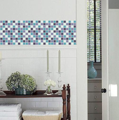 Blue Mosaic Vinyl Tile Sheets