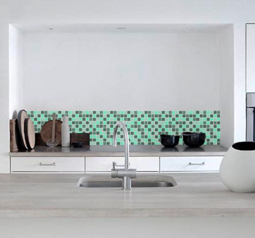 Green Mosaic Vinyl Tile Sheets
