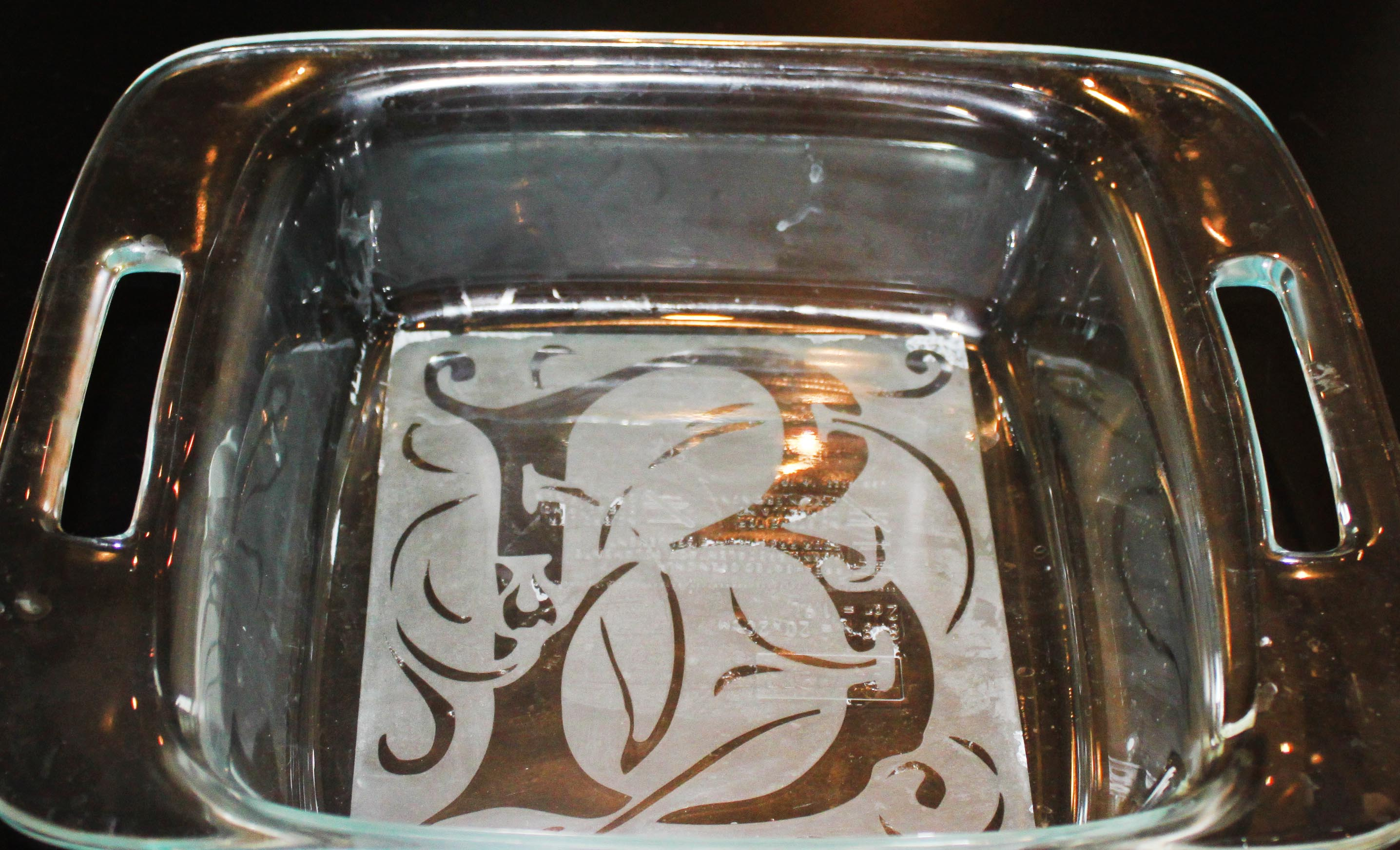 "Celtic Monogram Etching for Square 8"" Glass Pan"
