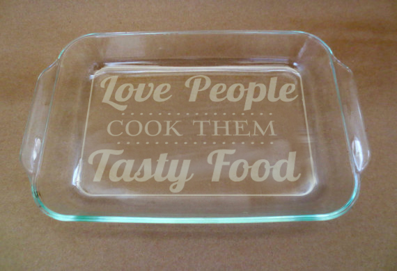 """Love People Stencil for 9"""" x 13"""" Glass Pan"""