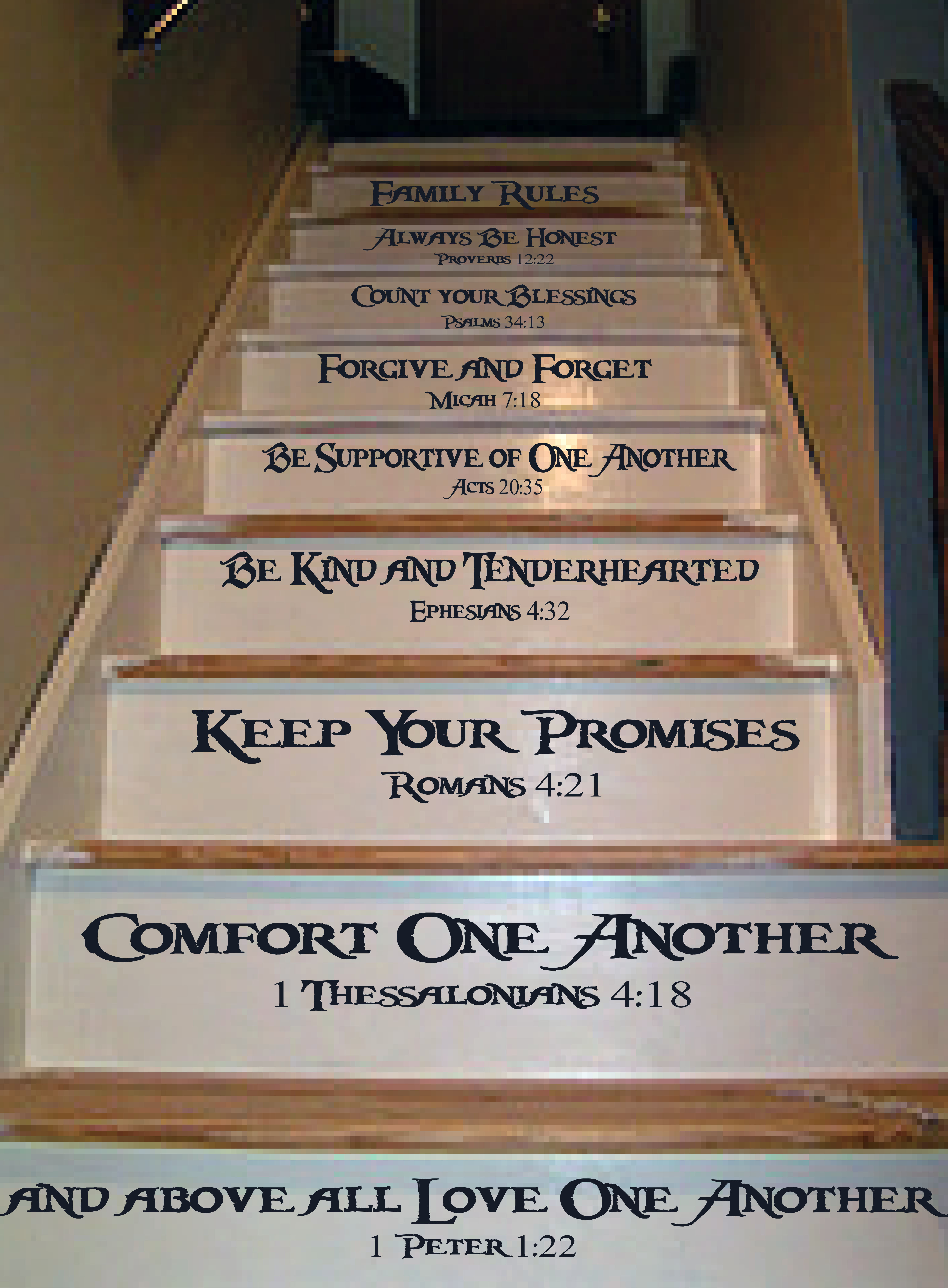 family rules stair decal trading phrases family rules stair decal
