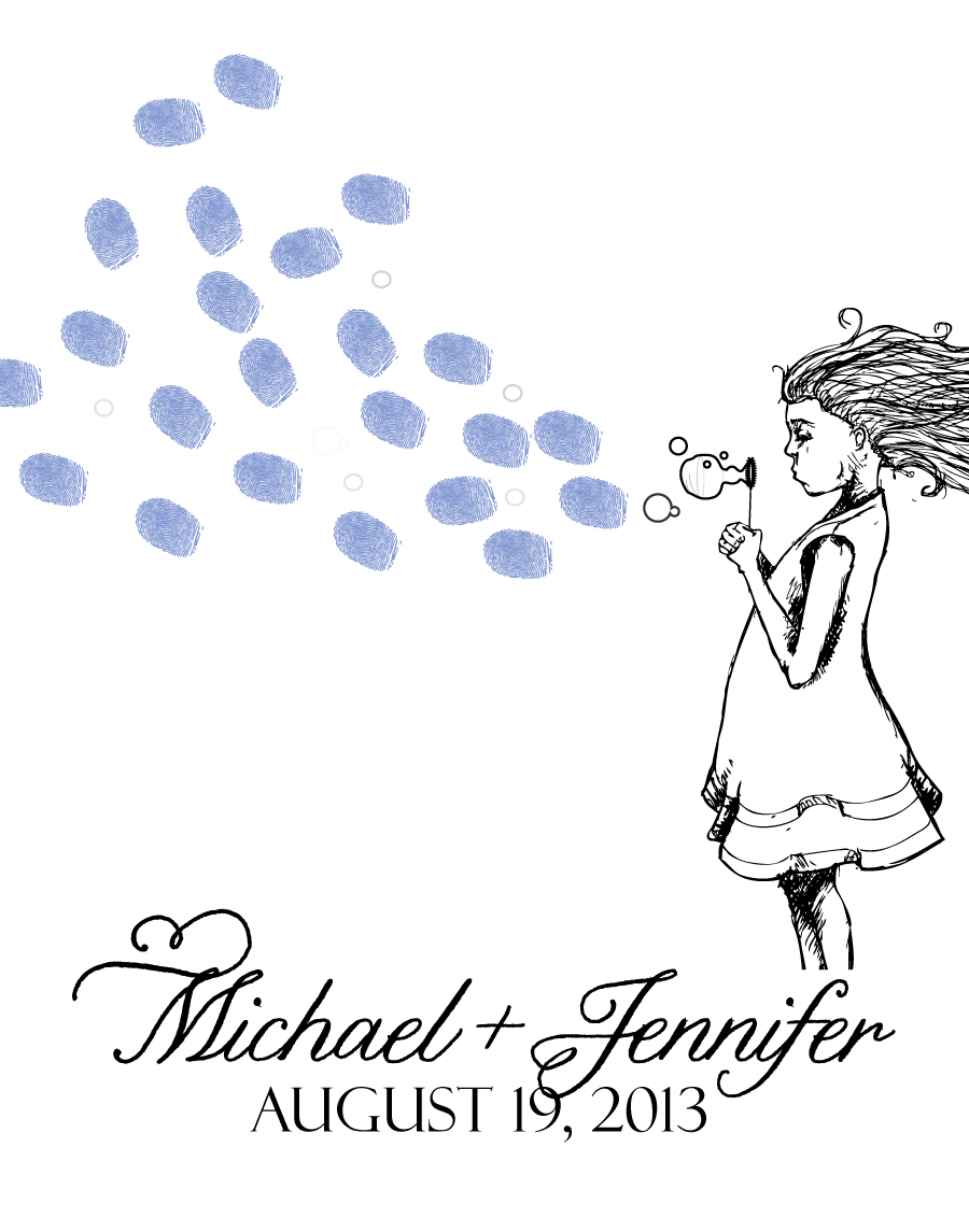 Just Married Bubbles Thumbprint Guest Book Print