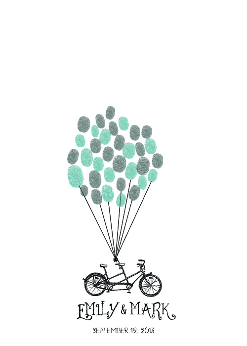Tandem Bike Thumbprint Guest Book