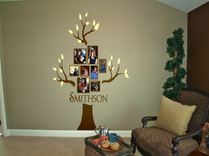 Family Name and Photo Tree Wall Decal