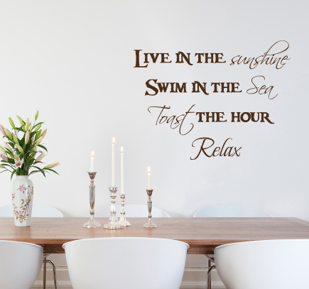 Live Swim Toast Relax Wall Decal