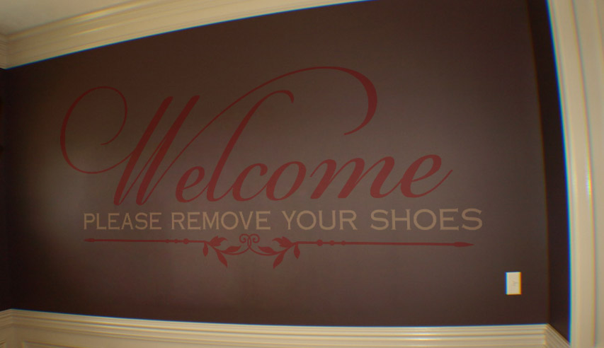 Welcome Remove Shoes Wall Decal