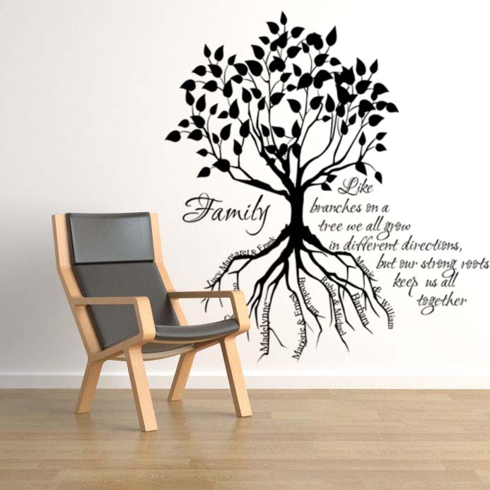 Family Tree Root Names Giant Wall Decal