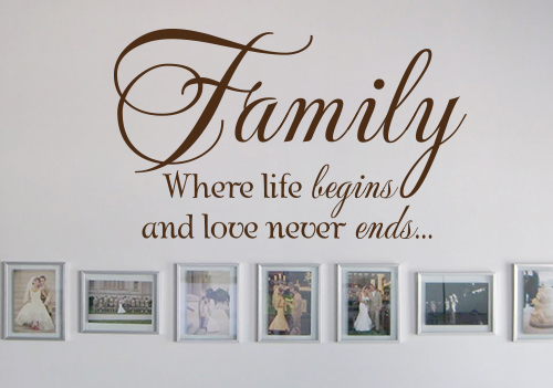 Family Life Begins Love Never Ends Wall Decal