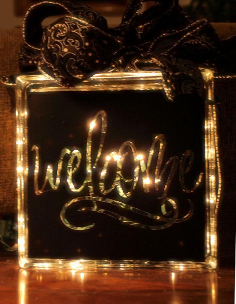 Welcome Glass Block Decal