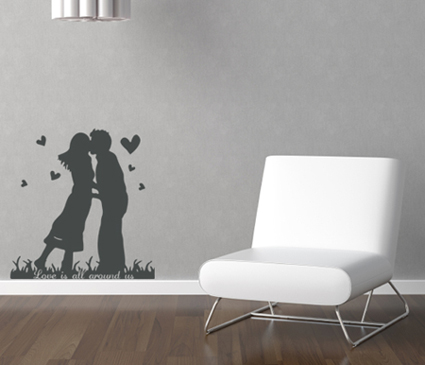 Love Is All Around Silhouette Wall Decal
