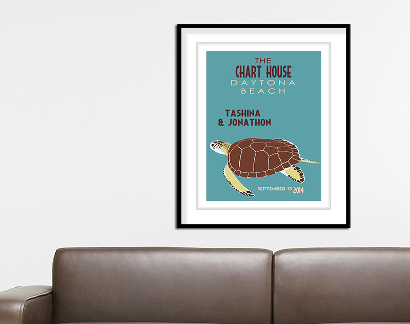 Sea Turtle Wedding Print