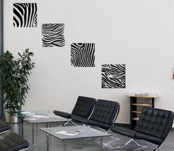 Four Zebra Stripes Wall Decal