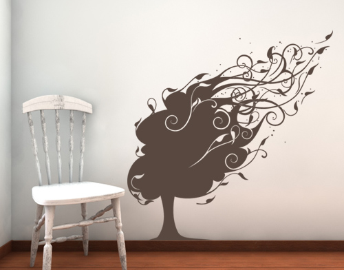 Beautiful Blowing Tree Wall Decal
