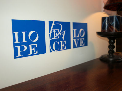 Hope Peace Love Blocks Wall Decals