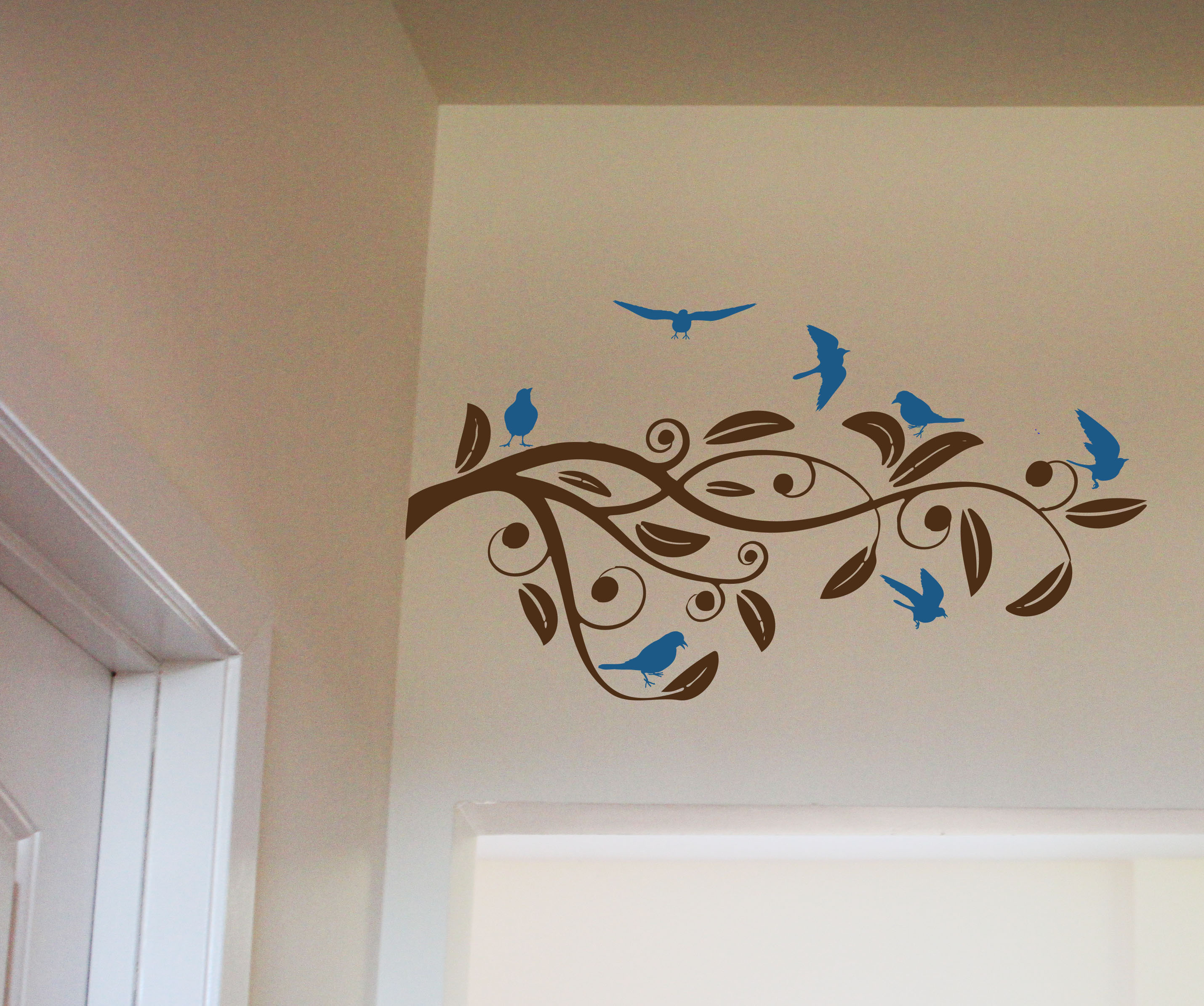 Swirly Branch And Birds Wall Decals